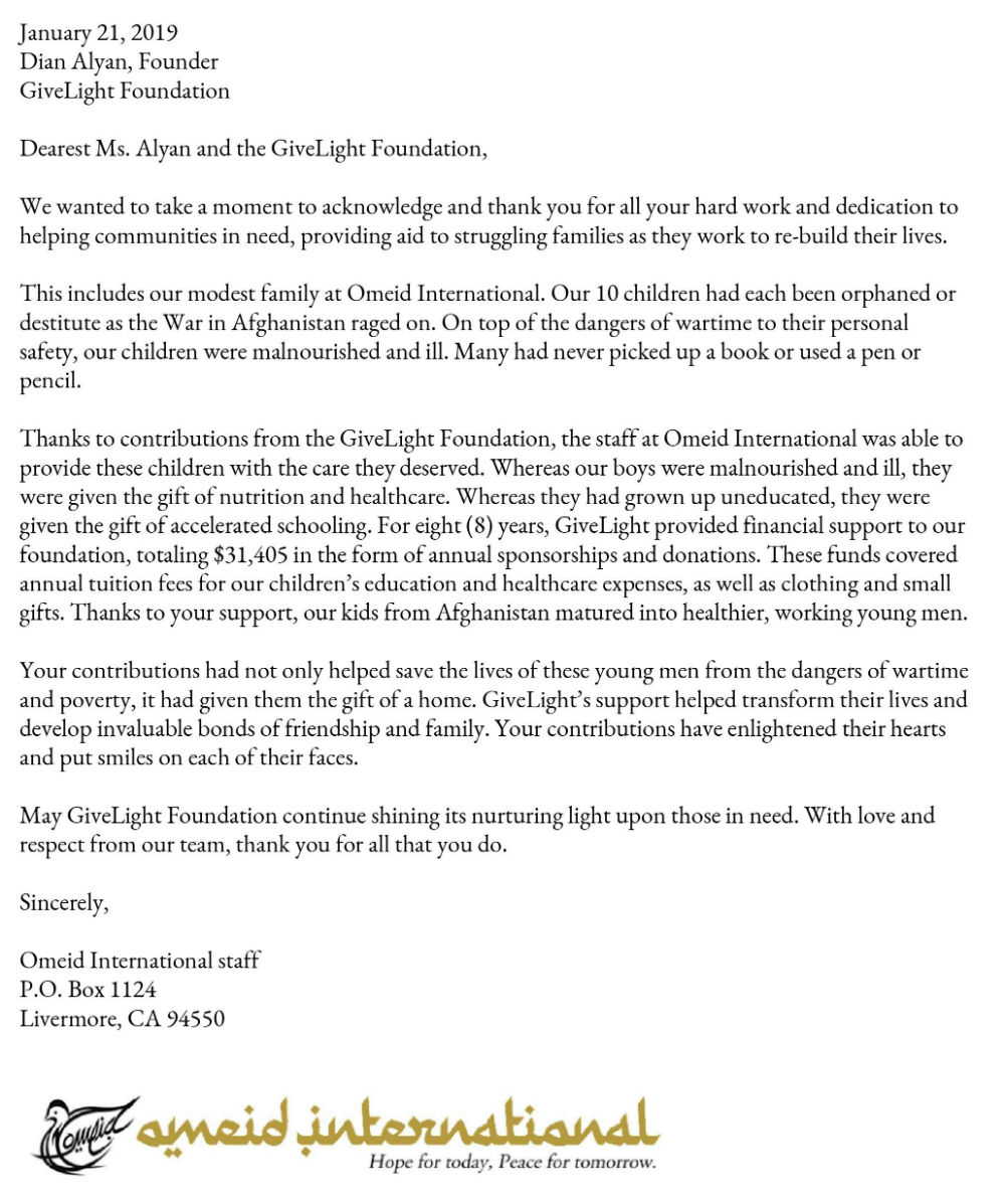 givelight-children-orphans-asia-afghanistan-omeid-international-dian-alyan-letter